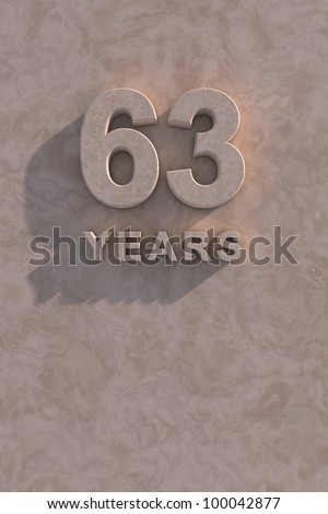 63 years 3d text with shadow and copy space