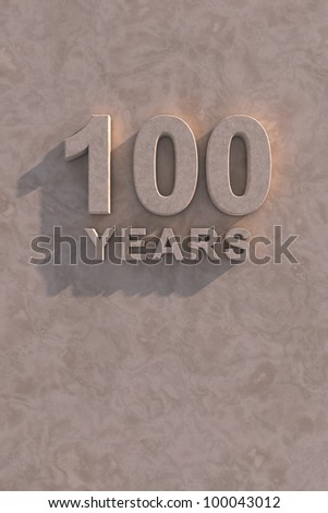100 years 3d text with shadow and copy space