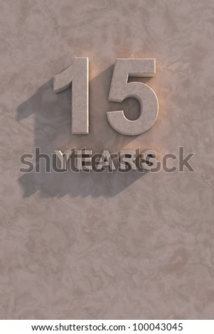 15 years 3d text with shadow and copy space