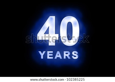 40 Years in glowing white numbers and text with a mottled patterning on blue background suitable for a birthday, celebration or anniversary