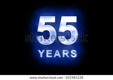 55 Years in glowing white numbers and text with a mottled patterning on blue background suitable for a birthday, celebration or anniversary card or invitation
