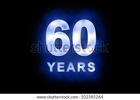 60 Years in glowing white numbers and text with a mottled patterning on blue background suitable for a birthday, celebration or anniversary card or invitation