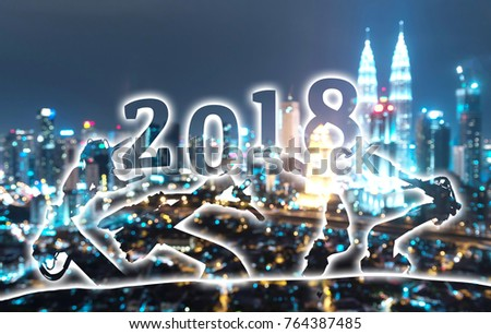 2018 years of ai technology , industry 4.0 , artificial intelligence trend concept. Silhouette of automation robot arms. Blur metropolis city building background. #764387485