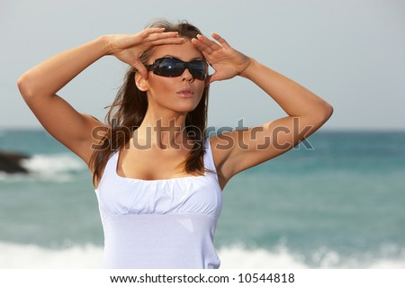 20-25 years old Beautiful woman on the beach