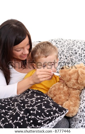 4 years old boy and his mother - flue season