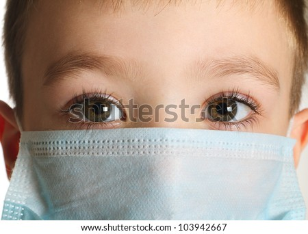 5 years old boy in medicine healthcare mask