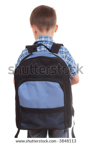 5 years old boy ready to school isolated on white - stock photo