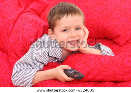 5 6 years old boy watching tv in bed stock photo 6524005 for 5 yr old beds