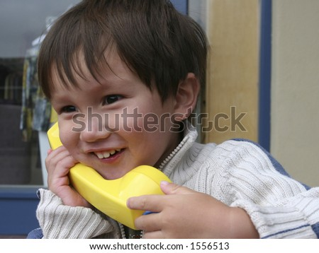 2 Years Old Calling - stock photo