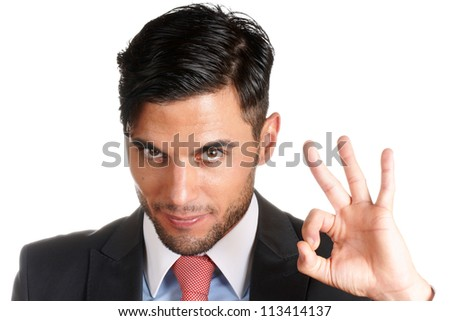 30 years old caucasian businessman making ok sign over white background