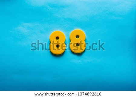 88 years old celebrating classic logo. Colored happy  eighty-eight yellow numbers. Greetings celebrates card. Traditional  digits of ages.  Sale, birthday, special prize, % off concept. #1074892610
