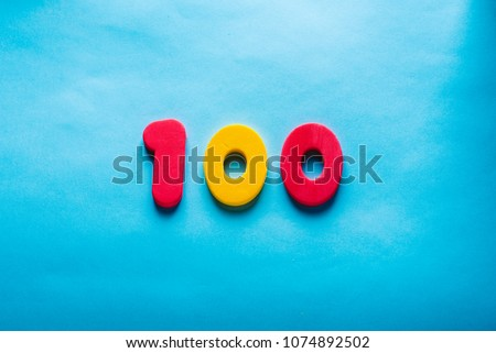 100 years old celebrating classic logo. Colored happy one hundred numbers. Greetings celebrates card. Traditional digits of ages.  Sale, birthday, special prize, % off concept. #1074892502