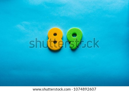 89 years old celebrating classic logo. Happy  eighty-nine template colorful numbers. Greetings celebrates card. Traditional  digits of ages.  Sale, birthday, special prize, % off concept. #1074892607