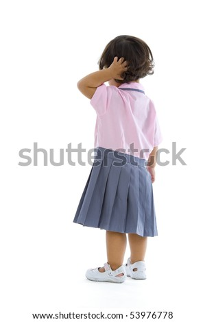 2 years old girl with school uniform, isolated on white background
