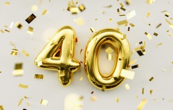 40 years old. Gold balloons number 40th anniversary, happy birthday congratulations