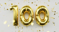 100 years old. Gold balloons number 100th anniversary, happy birthday congratulations, with falling confetti on white background