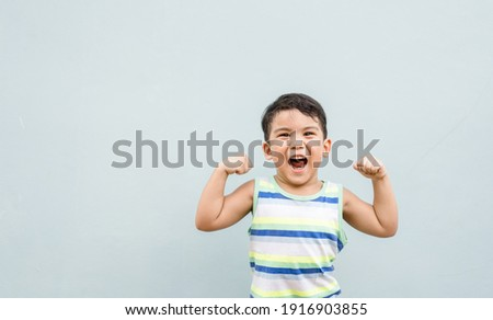 3 years old mixed race child asian caucasian boy with strong look healthy.childhood kindergarten kid with strong muscle and good emotion.Happy kid with healthcare.Pediatric, Vaccine, protect virus.
