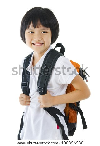 7 years old pan Asian school girl on white background