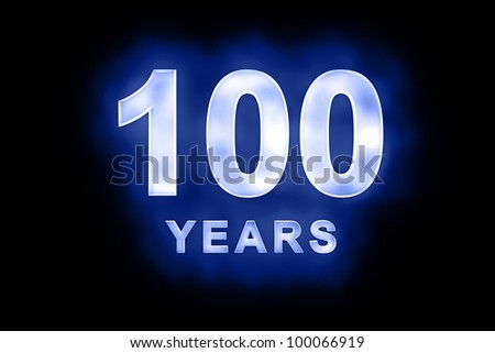 100 years text with blue glow on black background