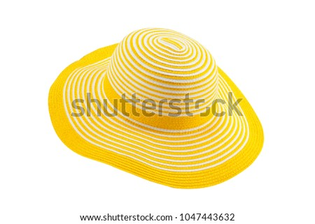 Yellow Sun Hat isolated on white background with clipping path #1047443632