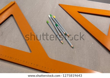 Set square triangle used in engineering and technical drawing