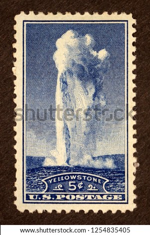 #744 Yellowstone 5 cent Postage Stamp #1254835405