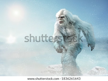 Yeti or abominable snowman 3D illustration