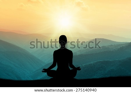 Yoga and meditation. Silhouette.