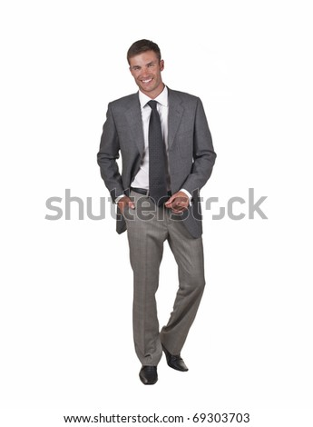 young attractive businessman goes, isolated on a white background