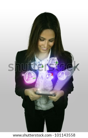 young business woman with mobile phone show the social network
