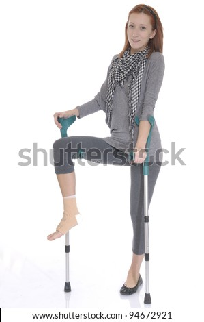 Young girl with ankle bandage.