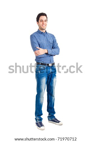 Young man isolated on white full length