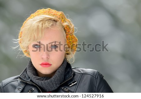 young pretty woman outdoor in winter