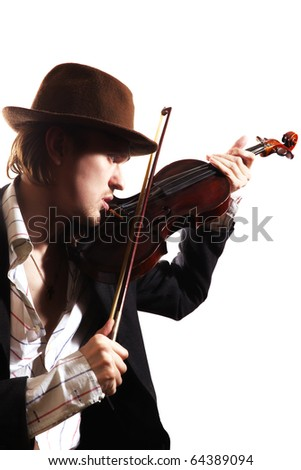 young violinist playing the violin in hat and jacket isolated on white background