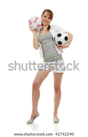 young woman clothed in sportswear with soccer ball