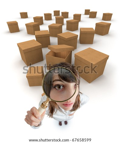 Young woman with a magnifying glass surrounded by cardboard boxes