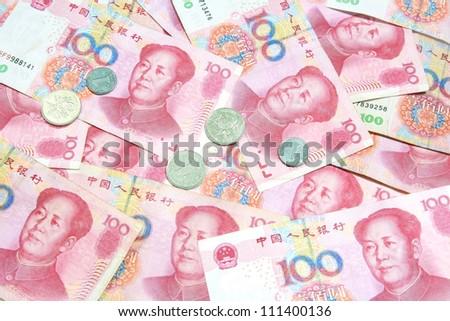 100 Yuan bills background
