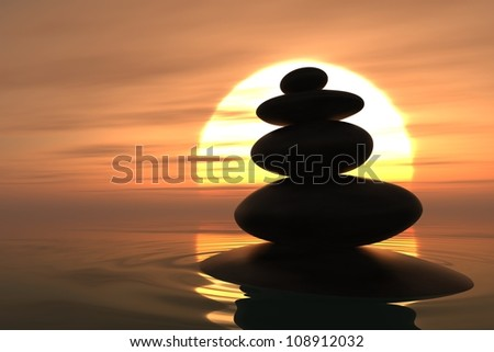 Zen pebbles stacked into the water with sunset on the background #108912032