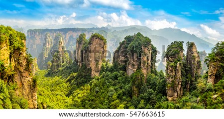 Zhangjiajie Forest Park. Gigantic pillar mountains rising from the canyon. Hunan province, China. #547663615