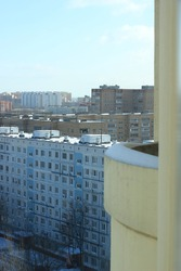 02.07.2021. Zheleznodorozhny. Russia. City, residential quarters, apartment buildings for ordinary people. Winter