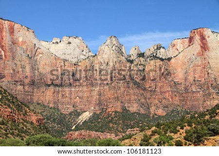 Zion National Park, Utah. (West Temple and Altar of Sacrifice)