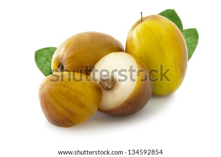 Ziziphus mauritiana also called Indian Ber, Chinee Apple, Jujube, Indian plum and Masau isolated on white background