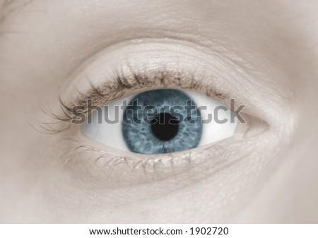 女性の青い目 - stock photo