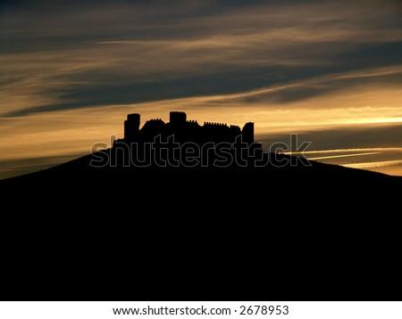 城堡, 剪影, 结构, 背景, 云彩, 废墟, 日落 - stock photo