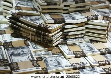 多くのお金- 現金(実質のお 金) の百万のドル - stock photo