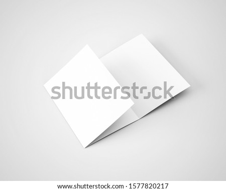 A4 A5 Three 3 Fold Tri Fold Brochure 3D Rendered White Blank Mockup Foto stock ©