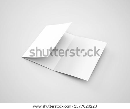 A4 A5 Three 3 Fold Tri Fold Brochure 3D Rendered White Blank Mockup