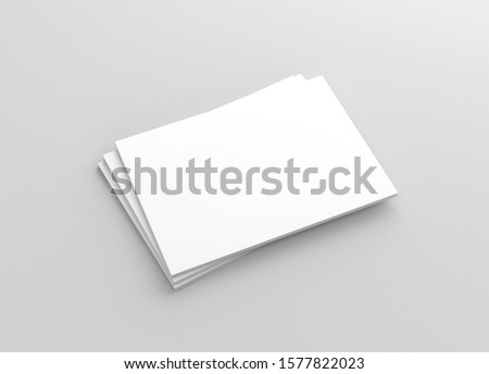 A4 A5 Us Letter Horizontal Landscape Magazine Brochure 3D Rendered White Blank Mockup stock photo