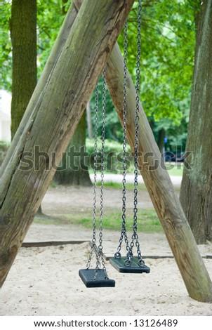 A abandoned seesaw on a playground. Sad impression...