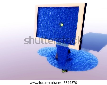 A abstract image of a television screen that is leaking abstract water, with a fish in the screen.